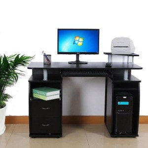 Home Office Writing Furniture PC Laptop Table Writing & Computer Desk w/ Printer Shelf