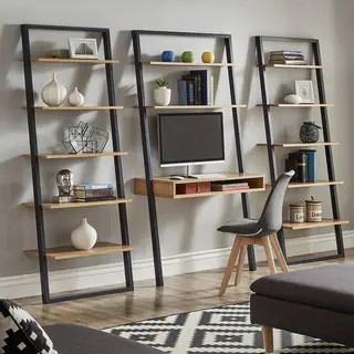 shelves living room amazon com furniture 2 buy bookshelves bookcases online at overstock our best ranell leaning desk ladder by inspire q modern