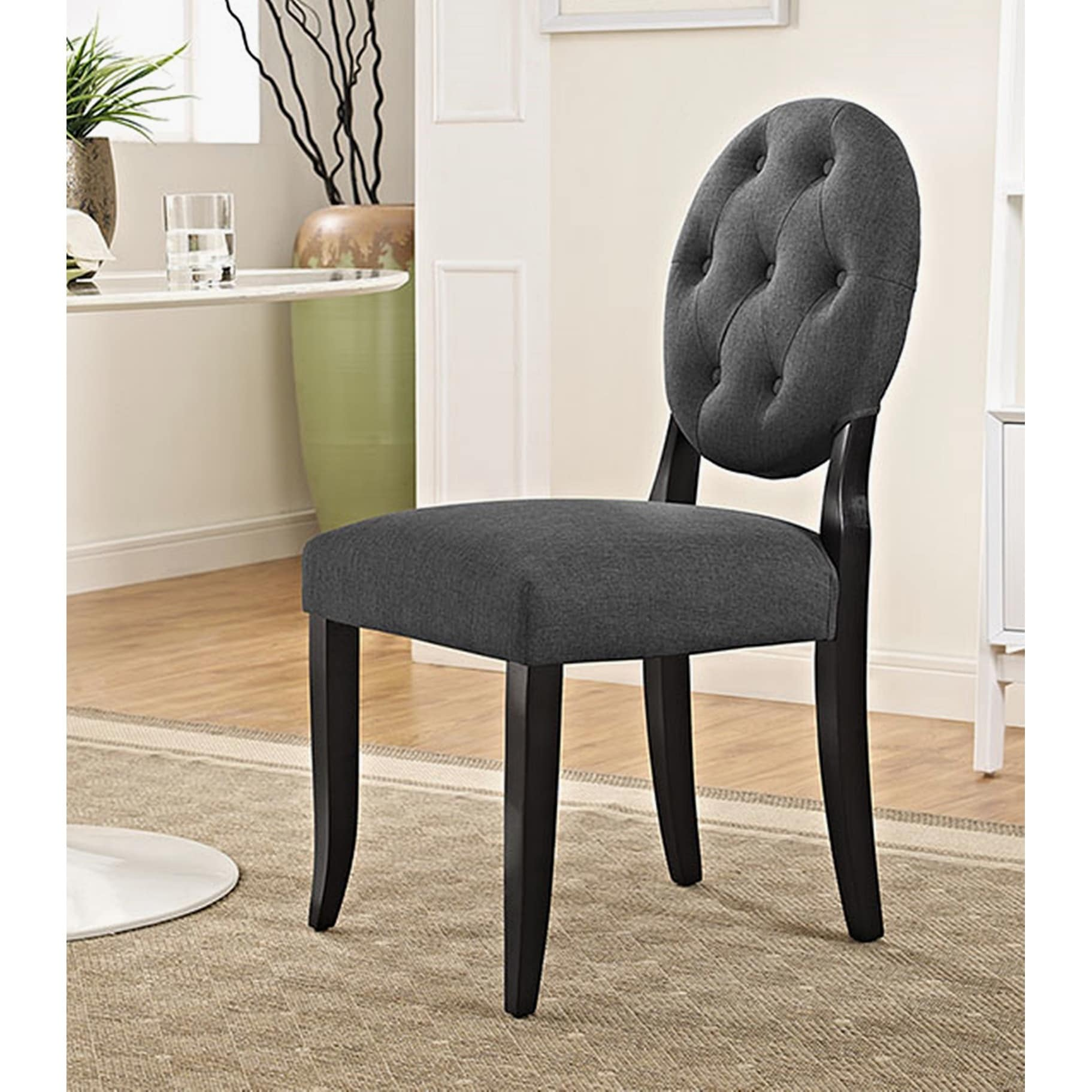 gray upholstered dining chairs wedding chair covers hire horizon round grey ebay details about