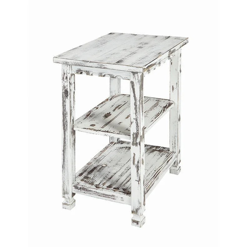 alaterre country cottage distressed wood 2 shelf end table