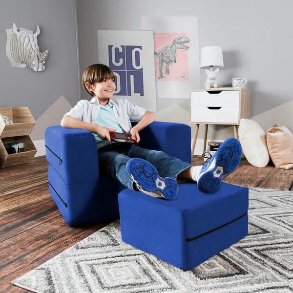 kids chair and ottoman toddler recliner shop jaxx big convertible sleeper free amp