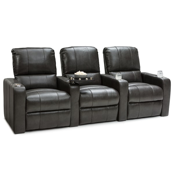 theater chairs with cup holders high gloss white dining shop seatcraft millennia leather home seating power recline grey row of 3