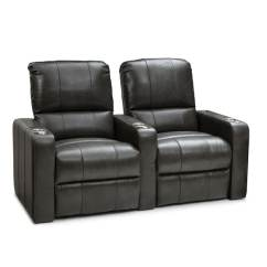 Theater Chairs With Cup Holders Patio Swivel Canada Shop Seatcraft Millennia Leather Home Seating Power Recline Grey Row Of 2