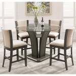 Kecco Gray 5 Piece Round Glass Top Counter Height Dining Set Overstock 16685521