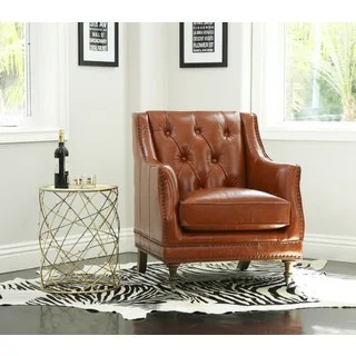 burnt orange leather living room furniture side tables modern buy chairs online at overstock com our abbyson nixon top grain wax chair