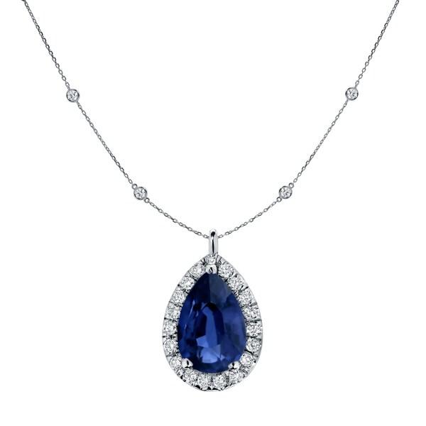 Shop Auriya Pear Shaped 1ct Blue Sapphire and 1 3/5ctw