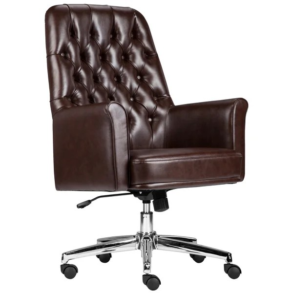tufted leather executive office chair Shop Multifunction Brown Leather Button-tufted Executive