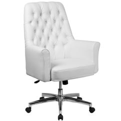 White Leather Swivel Desk Chair Easy Yoga Shop Button Tufted Multifunction Executive Office