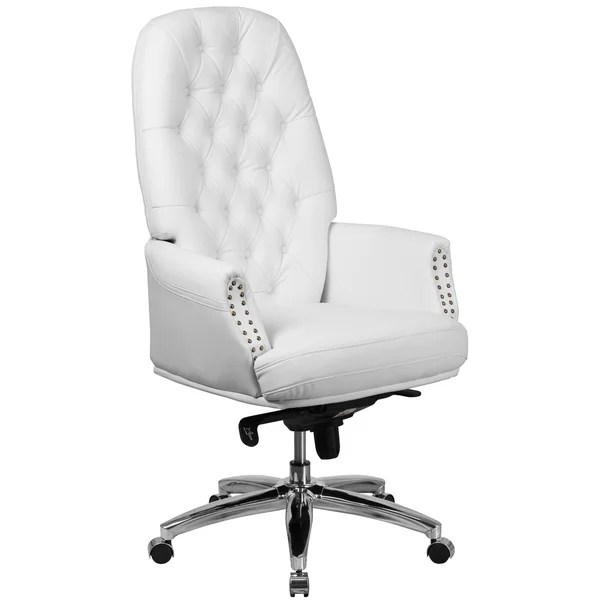 white leather swivel desk chair folding lazada shop chrome multifunction button tufted executive office