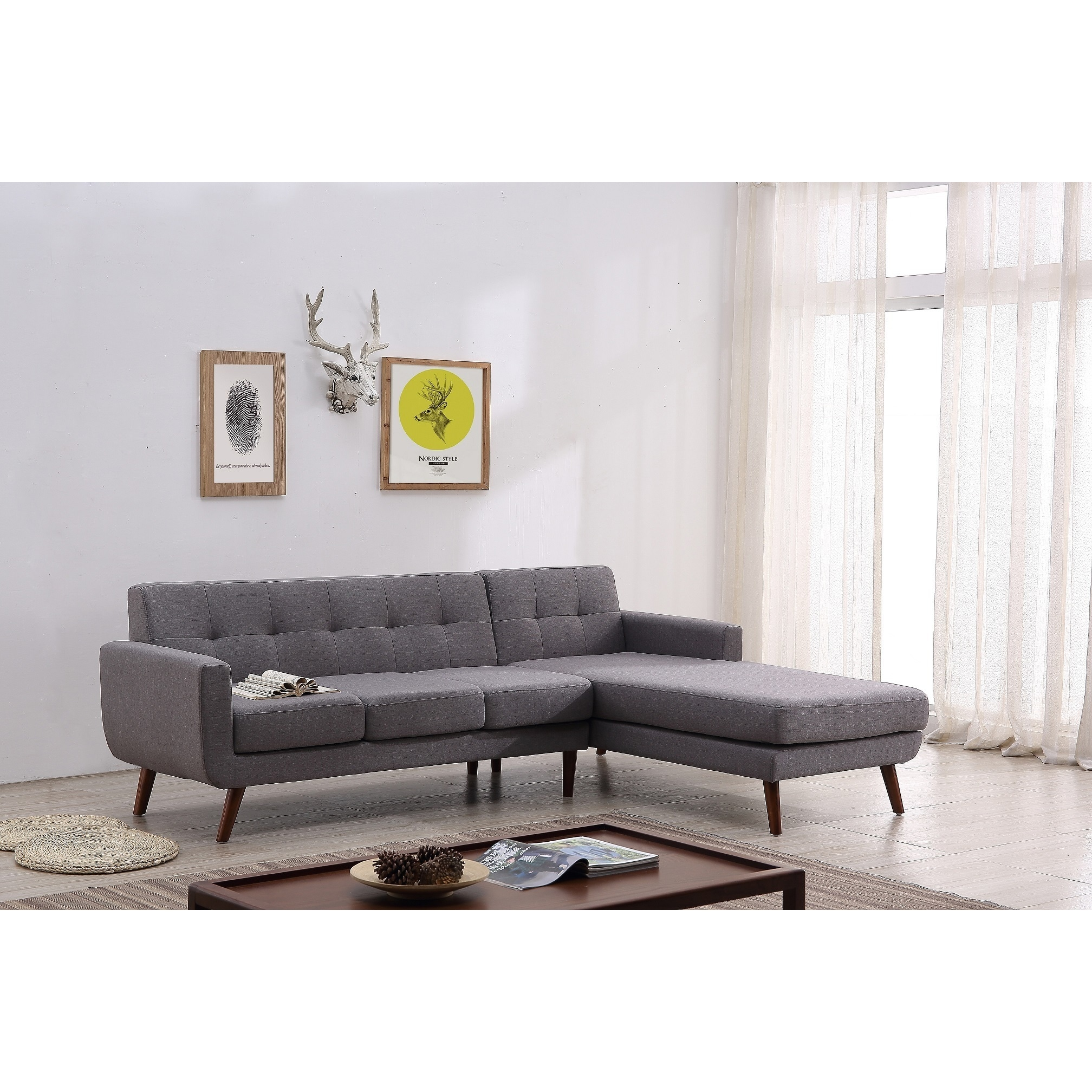 tufted linen sectional sofa how to fix arm on shop mid century right facing fabric upholstered free shipping orders over 45 overstock com 16764421