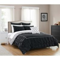 Shop Chic Home Kingston 8-Piece Black Bed in a Bag Duvet ...