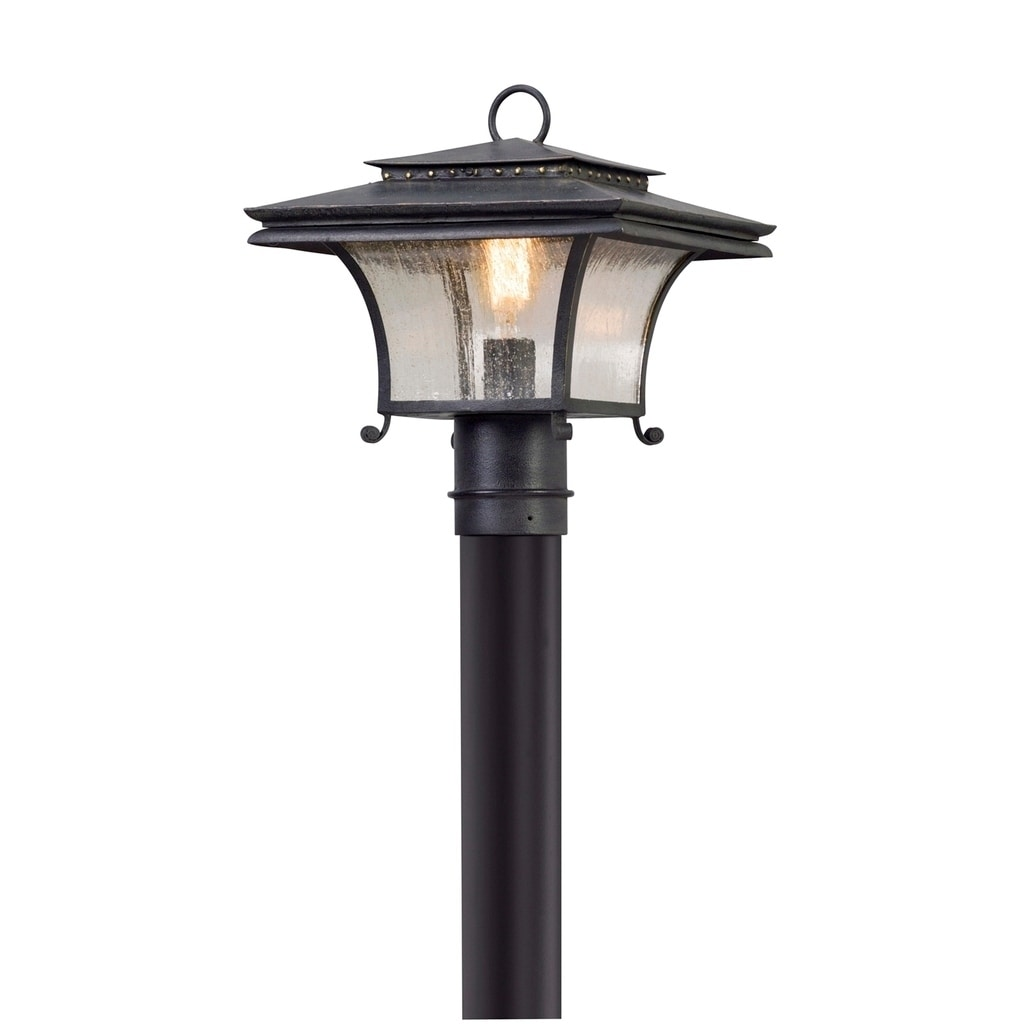 Troy Lighting Grammercy Forged Iron Outdoor Post Mount, Clear Seeded Glass