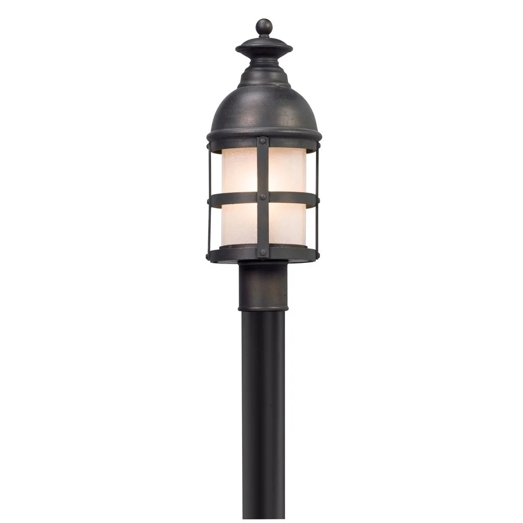 Troy Lighting Webster Vintage Bronze Outdoor Post Mount, Clear Seeded Glass