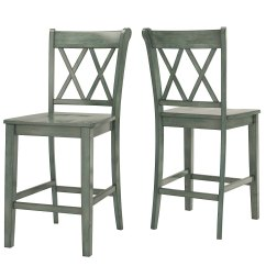 24 Inch Counter Chairs Folding Shower Chair Eleanor Double X Back Wood Set Of 2 By Inspire Q