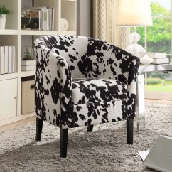 Cow Print Chair Upholstered Office On Wheels Shop Kacey Black Club Free Shipping Today