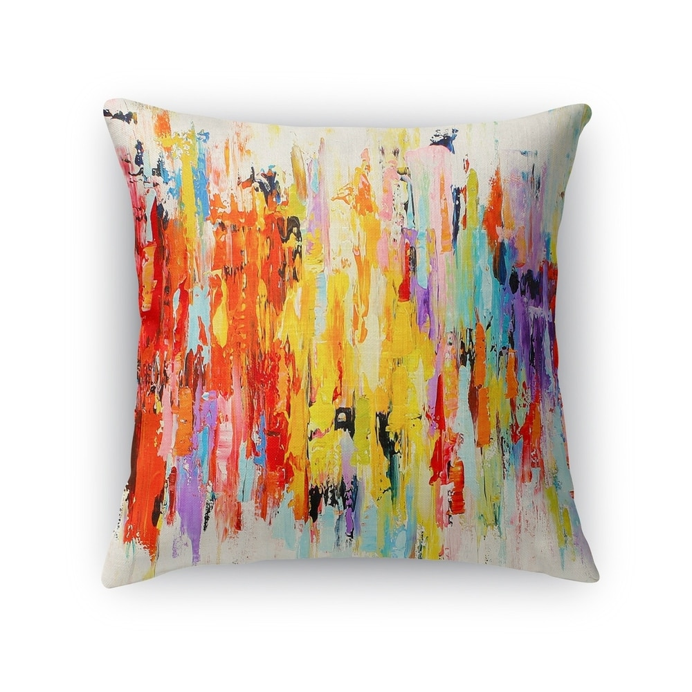kavka designs red orange purple blue green abstract dance accent pillow with insert