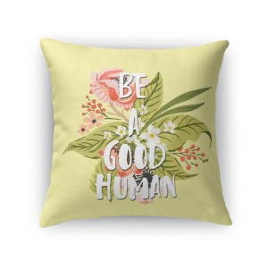 Kavka Designs yellow/ green/ pink/ red/ white good human accent pillow with insert