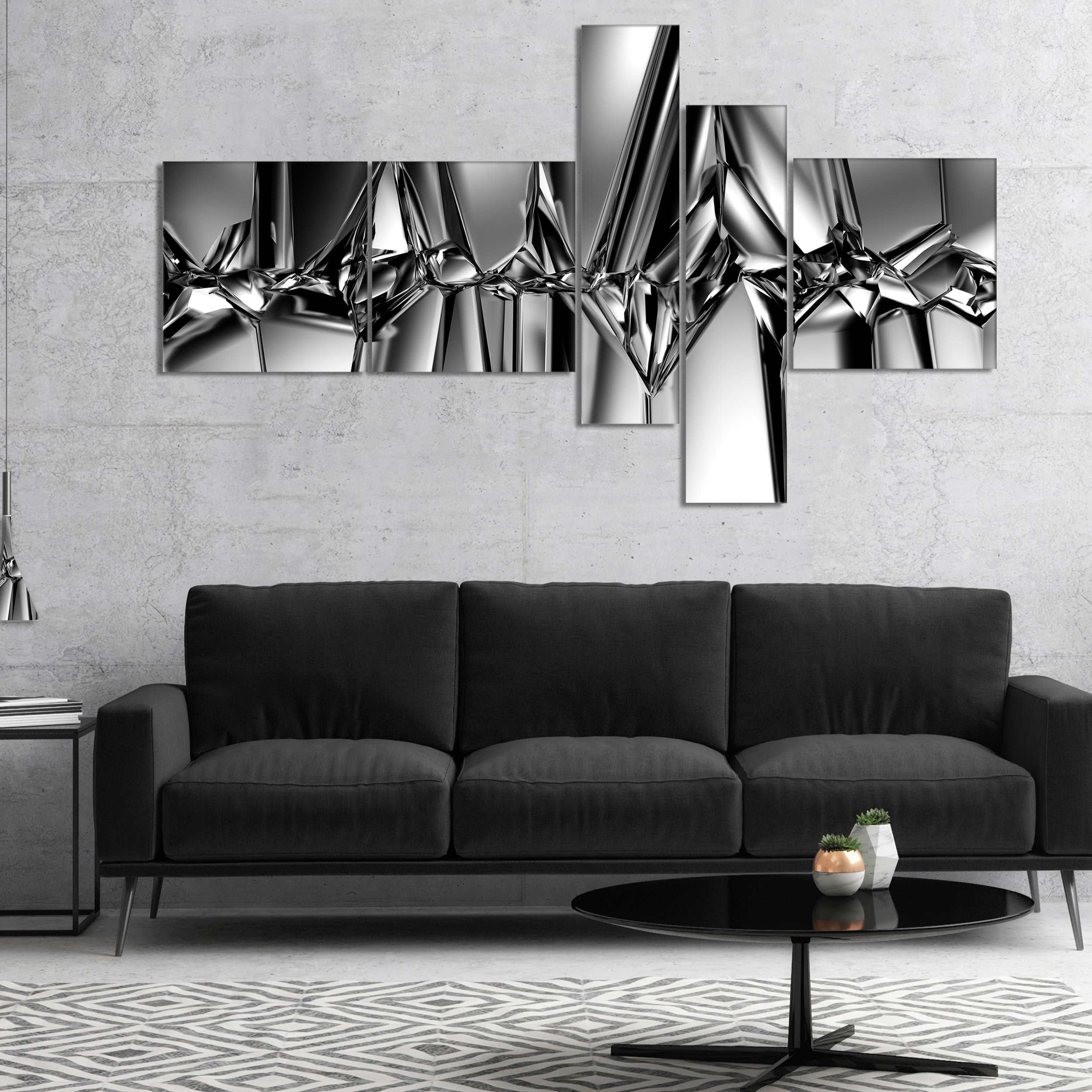 Shop Designart Black White Crystal Background Abstract Canvas Art Print On Sale Overstock 16941525