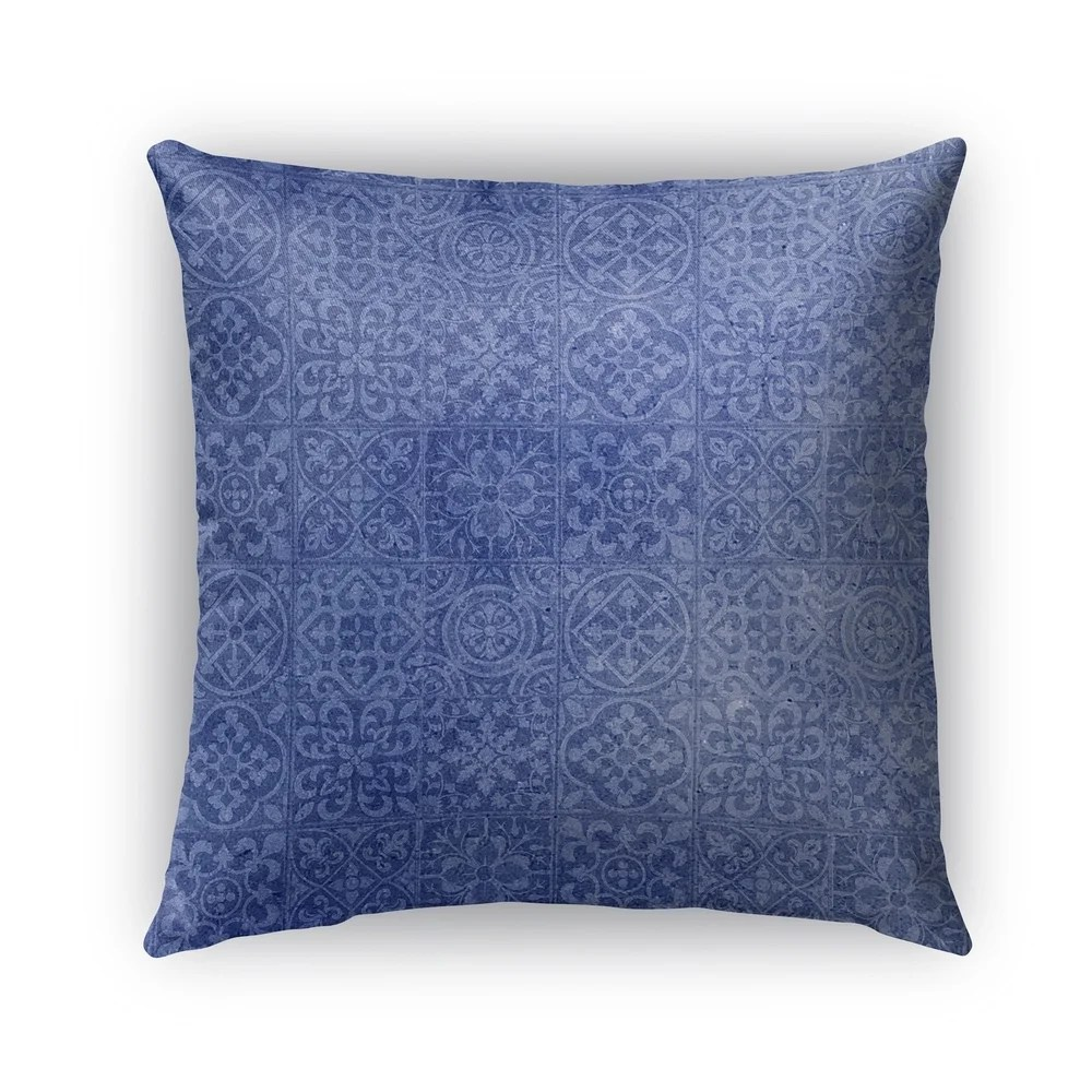 kavka designs blue tiles outdoor pillow