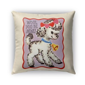 Kavka Designs purple; red; black; white wool you be mine outdoor pillow with insert