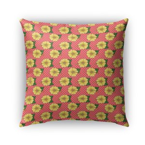 Kavka Designs green; pink; yellow hibiscus outdoor pillow with insert