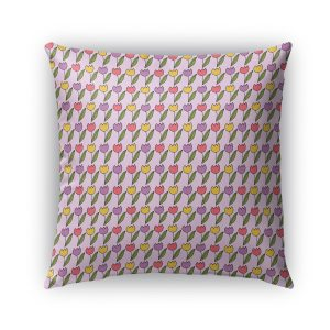 Kavka Designs purple; pink; yellow tulips outdoor pillow with insert