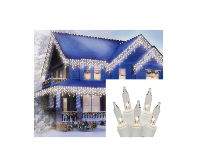 Set Of  Shimmering Clear Mini Icicle Christmas Lights White Wire