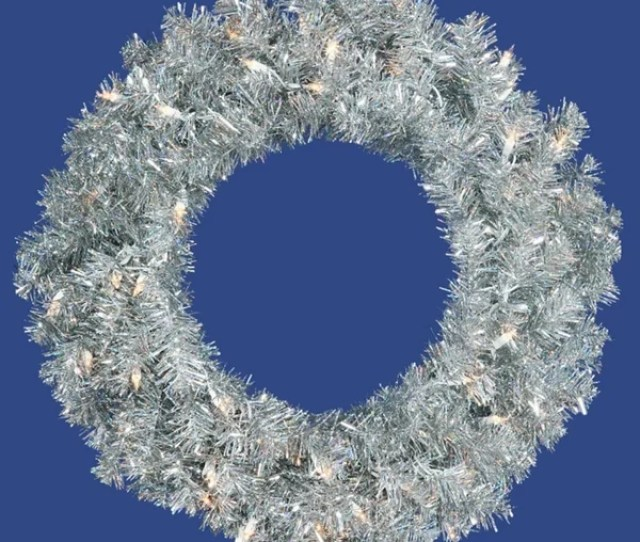 Pre Lit Sparkling Silver Tinsel Artificial Christmas Wreath Clear Lights