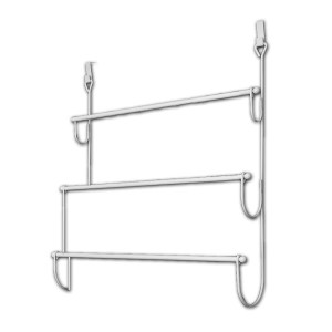 Evideco Over the Door Towel Rack Organizer 3 Bars Metal White