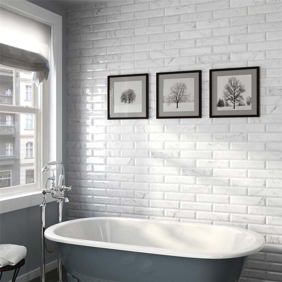somertile 3x12 inch carra carrara glossy metro ceramic wall tile