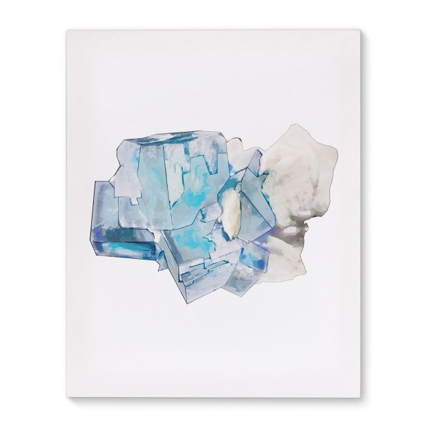 Kavka Designs Mineral Flourite Blue/Grey/White Canvas Art