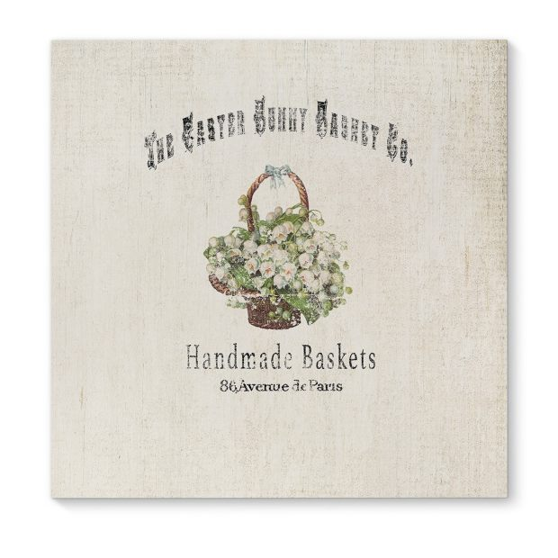 Kavka Designs The Easter Bunny Basket Ivory/Brown/Green/Grey Canvas Art