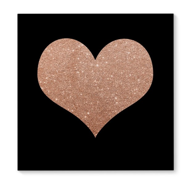 Kavka Designs Heart On Black Pink/Black Canvas Art