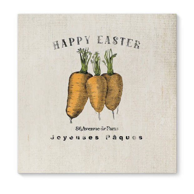 Kavka Designs Happy Easter Carrots Orange/Green/Ivory/Black Canvas Art
