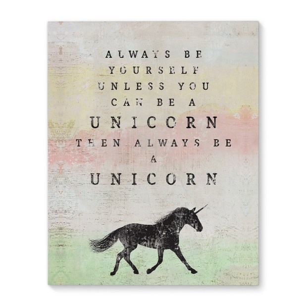 Kavka Designs Always be a unicorn Pink/Grey/Green/Yellow Canvas Art