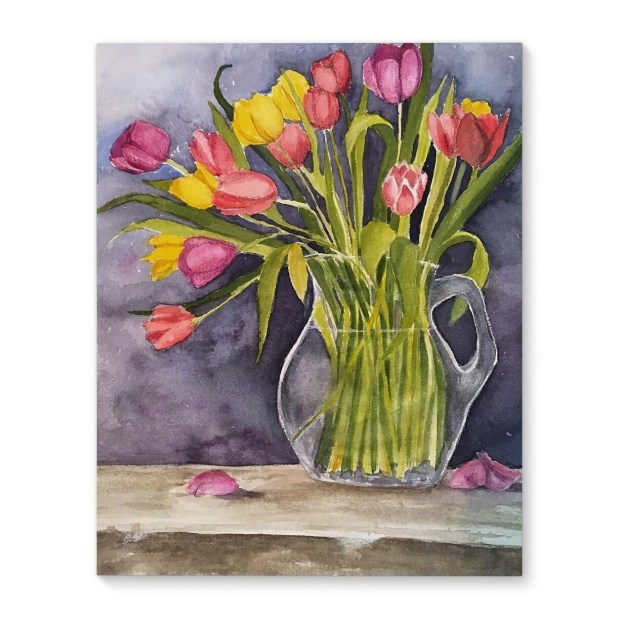 Kavka Designs Colorful Vase Pink/Yellow/Green/Purple Canvas Art
