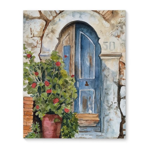 Kavka Designs Stone Door Blue/Green/Grey Canvas Art