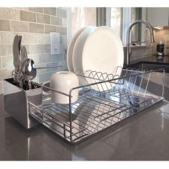 Kitchen Draining Board Standard Size Cabinets Shop Modern Chrome Plated 2 Tier Dish Drying Rack And Organized Utensil Holder Mug Dryer Silver Free Shipping On Orders Over