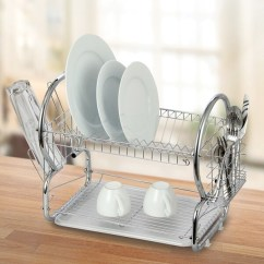 Kitchen Draining Board Design Layout Shop Modern Chrome Plated 2 Tier Dish Drying Rack And Organized Utensil Holder Mug Dryer Silver Free Shipping On Orders Over