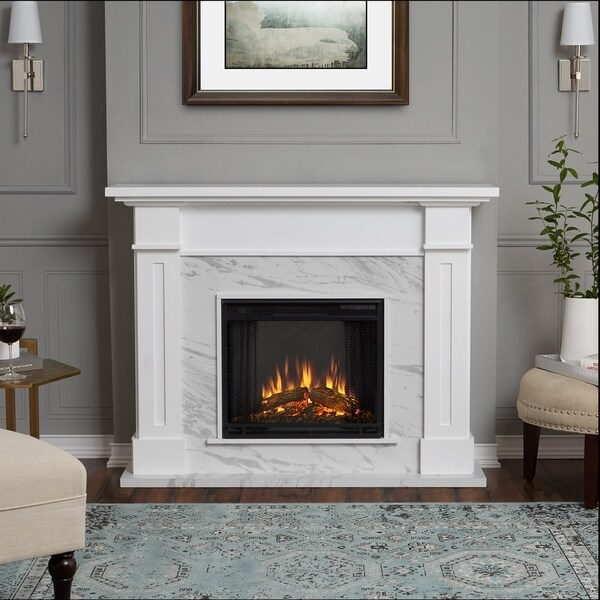 Shop Kipling Electric Fireplace White Marble by Real Flame  Free Shipping Today  Overstockcom