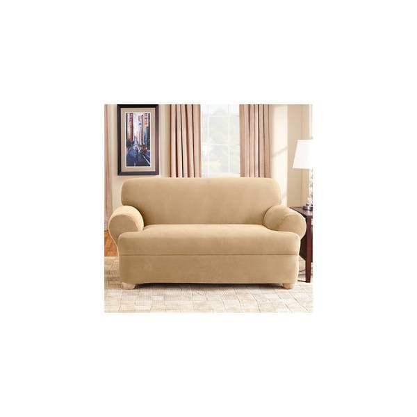 sure fit stretch pique 3 piece t cushion sofa slipcover soft cord fabric shop universal free shipping today overstock com 17179761