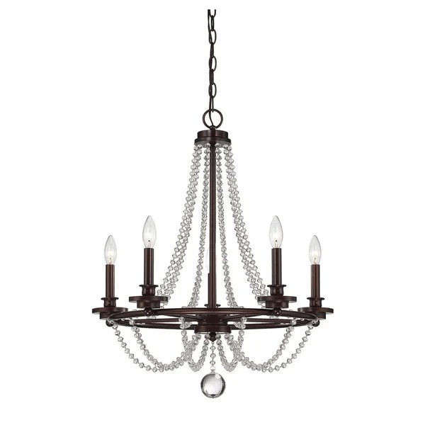 Byanca Mohican Bronze Finish Crystal Accented 5 Light Chandelier