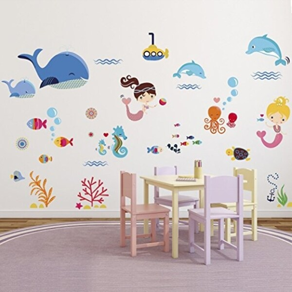 Shop Mermaids Decorative Peel Stick Wall Art Sticker Decals Wall ...