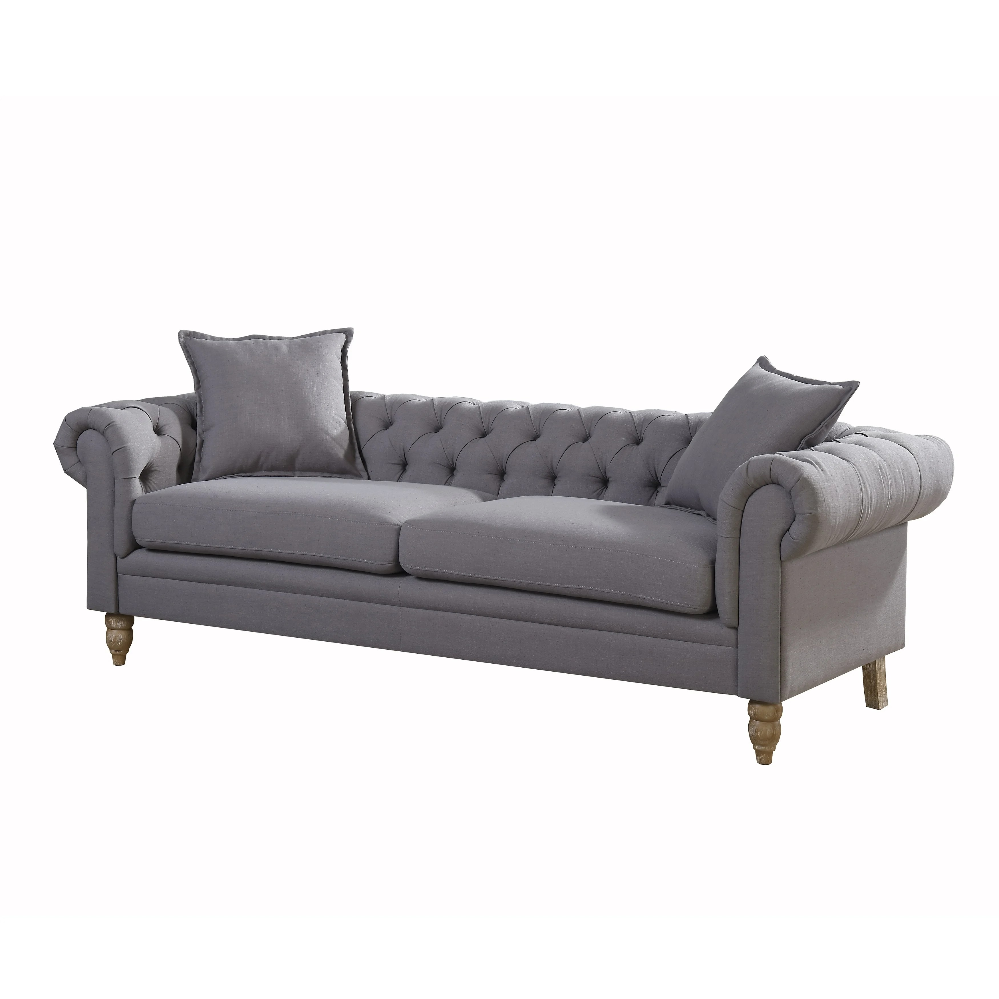 chesterfield style fabric sofa flexsteel harrison shop christies home living juliet small linen grey free shipping on orders over 45 overstock com 17625161