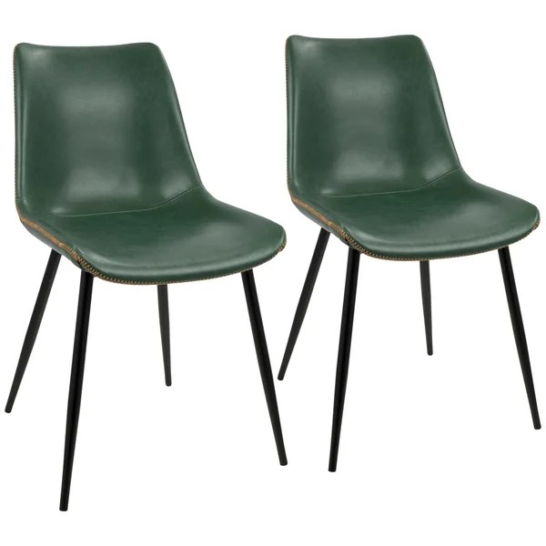 industrial dining chair massage repair shop durango with vintage faux leather set of 2