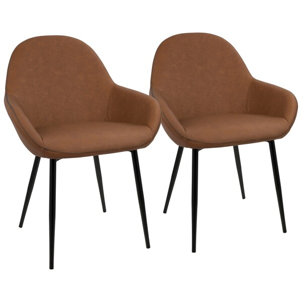 Shop Clubhouse Contemporary Dining Chair With Vintage Faux Leather Set Of 2 Overstock 17652287