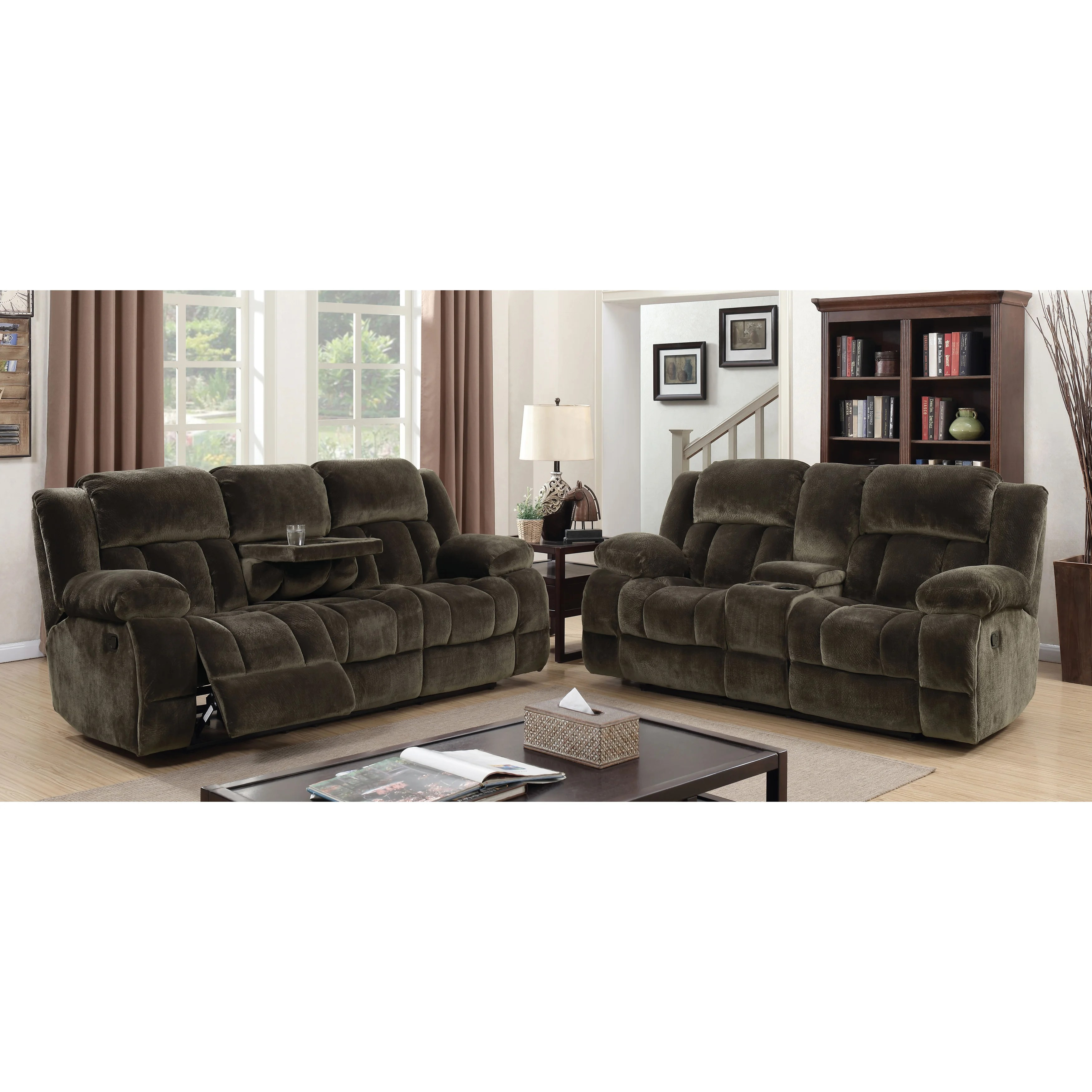 Furniture Of America Ric Traditional Brown 2 Piece Reclining Sofa Set