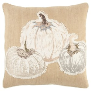 Rizzy Home 20 x 20 inch Fall Harvest Natural /Grey Pumpkins Decorative Throw Pillow