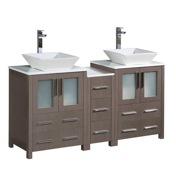 "Shop Fresca Torino 60"" Grey Oak Modern Double Sink ..."
