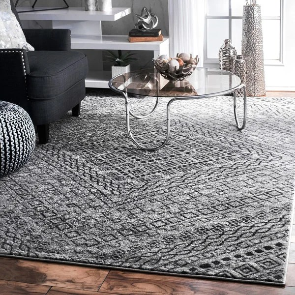 dark grey living room rugs modern tv shelf for shop nuloom traditional abstract diamond mosaic frames rug 8 x27 2 x